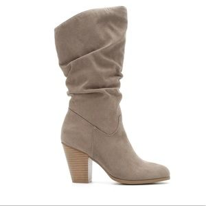 Rampage Venice Beige Mid-Calf Slouchy Heeled Boots